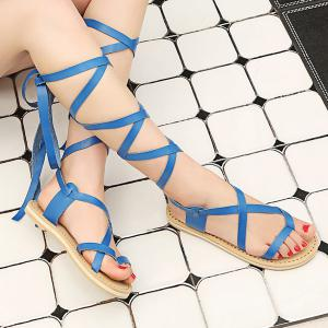 Strappy Lace Up Sandals - BLUE 38