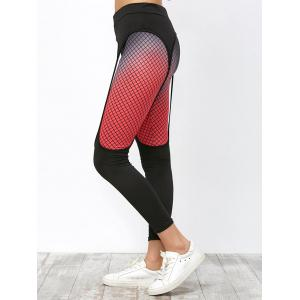 Fishnet Print Elastic Running Leggings -