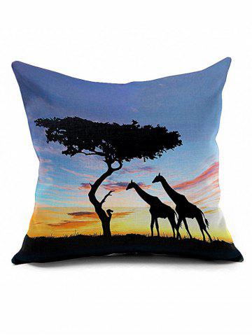 Fancy Giraffes Tree Cushion Cover African Throw Pillow Case - LIGHT BLUE  Mobile