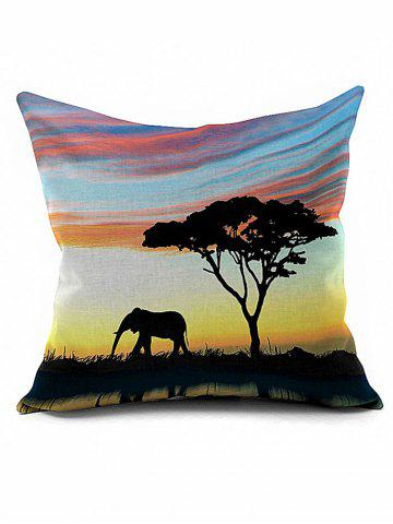Tree Elephant Cushion Cover African Pillow Case - Colormix - Pattern A