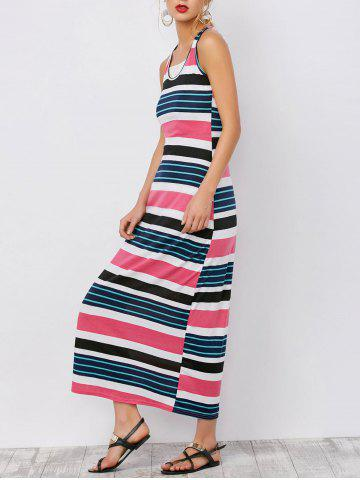 Hot Stripe Ankle Length Maxi Tank Dress PEACH RED S
