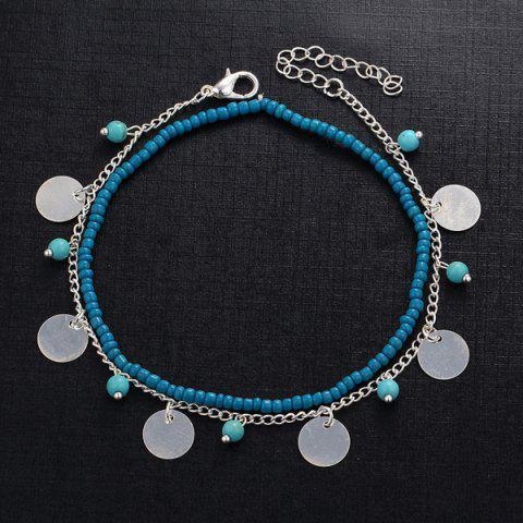 Chic Faux Turquoise Beads Anklet - SILVER  Mobile