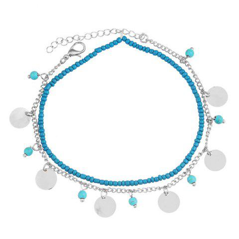 Faux Turquoise Perles Anklet Argent