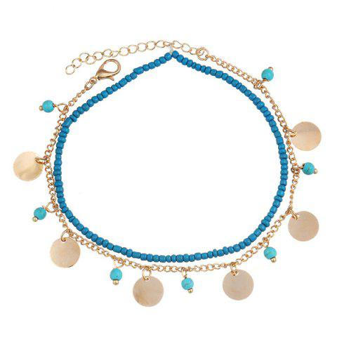 Chic Faux Turquoise Beads Anklet - GOLDEN  Mobile