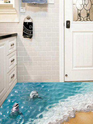 Chic Removable 3D Beach Dolphin Floor Sticker - 60*90CM BLUE Mobile
