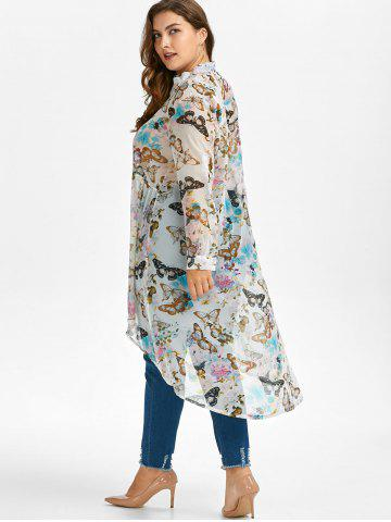 Shops Plus Size High Low Butterfly Print Top - XL WHITE Mobile