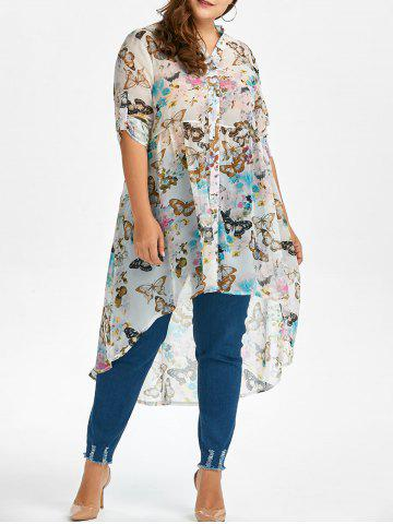 Plus Size High Low Butterfly Print Top - White - 4xl