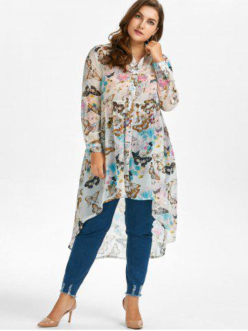 Chic Plus Size High Low Butterfly Print Top - 5XL WHITE Mobile