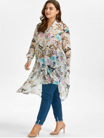 Latest Plus Size High Low Butterfly Print Top - 5XL WHITE Mobile