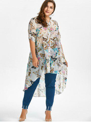 Outfit Plus Size High Low Butterfly Print Top - 5XL WHITE Mobile