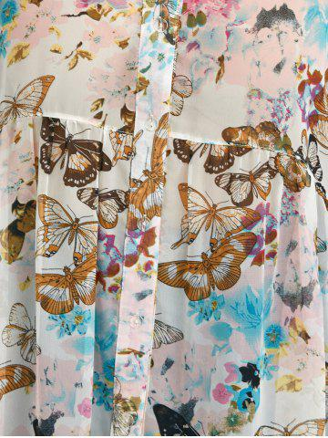 Unique Plus Size High Low Butterfly Print Top - 5XL WHITE Mobile