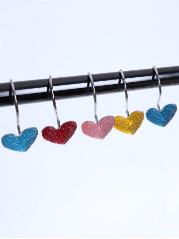 Online 12 Pcs Twinkling Heart Shower Curtain Hooks COLORMIX