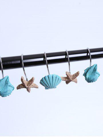 Store 12 Pcs Seashell Shower Curtain Resin Hooks - LAKE BLUE  Mobile