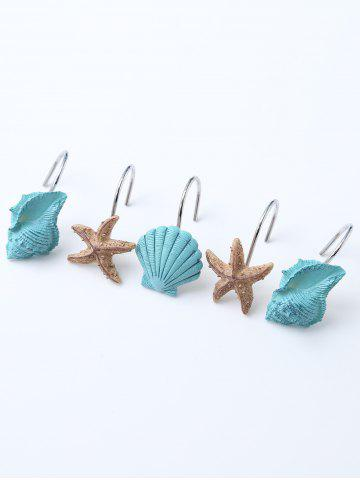 Affordable 12 Pcs Seashell Shower Curtain Resin Hooks - LAKE BLUE  Mobile