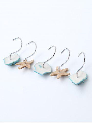 Fancy 12 Pcs Seashell Shower Curtain Resin Hooks - LAKE BLUE  Mobile