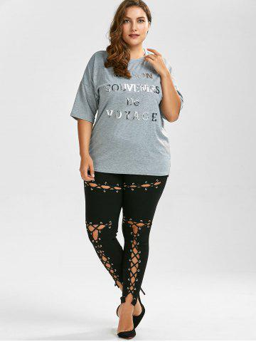 Outfit Lace Up Plus Size Skinny High Waisted Pants - XL BLACK Mobile