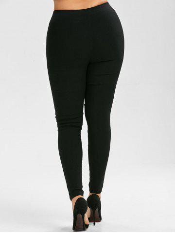 Shops Lace Up Plus Size Skinny High Waisted Pants - XL BLACK Mobile