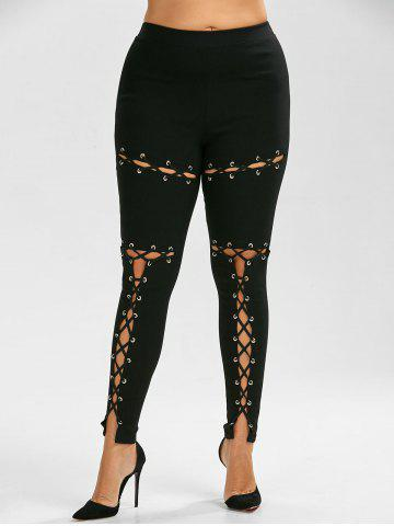 Online Lace Up Plus Size Skinny High Waisted Pants BLACK 5XL
