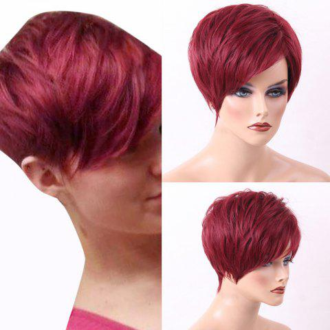 Latest Short Layered Pixie Side Bang Straight Human Hair Wig