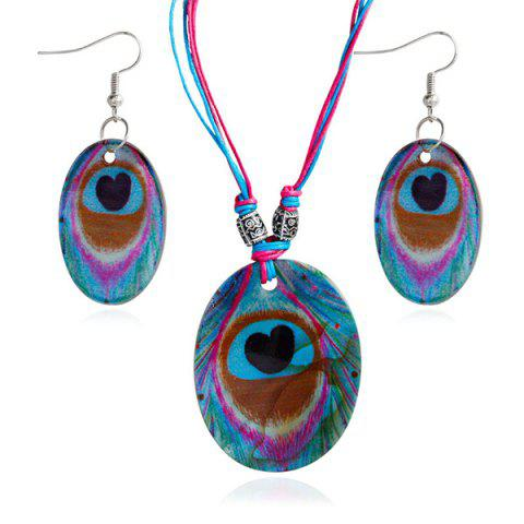 Heart Peacock Feathers Pattern Shell Necklace and Earrings - Blue