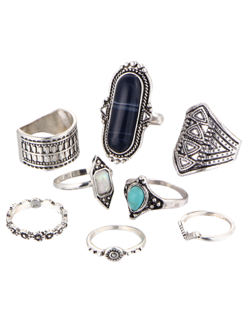 Fashion Ethnic Engraved Faux Turquoise Rings - BLACK  Mobile