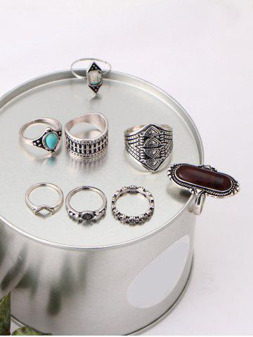 Outfit Ethnic Engraved Faux Turquoise Rings - BROWN  Mobile