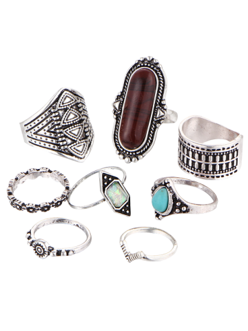 Cheap Ethnic Engraved Faux Turquoise Rings - BROWN  Mobile