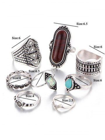 Online Ethnic Engraved Faux Turquoise Rings - BROWN  Mobile