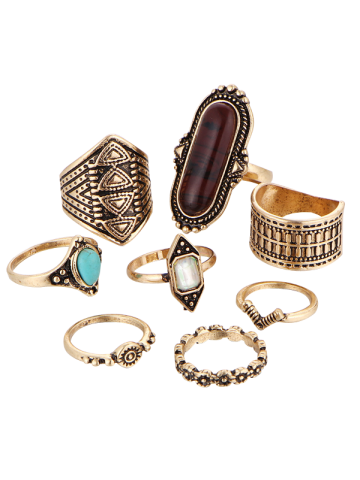 Ethnic Engraved Faux Turquoise Rings - Golden