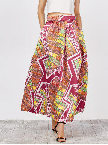 Printed High Waist African Skirts with Pockets - Yellow And Red - S