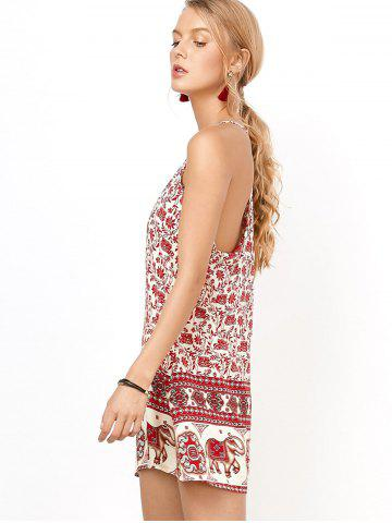 Latest Floral Mini Backless Slip Summer Dress - XL RED Mobile
