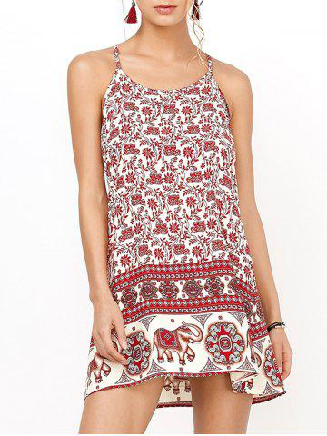 Unique Floral Mini Backless Slip Summer Dress RED S