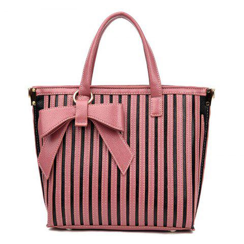 New Bowknot Striped Tote Bag