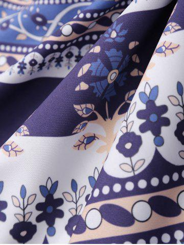 Buy Round Floral Print Beach Cover Throw - ONE SIZE DEEP PURPLE Mobile