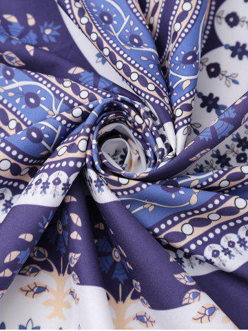Unique Round Floral Print Beach Cover Throw - ONE SIZE DEEP PURPLE Mobile