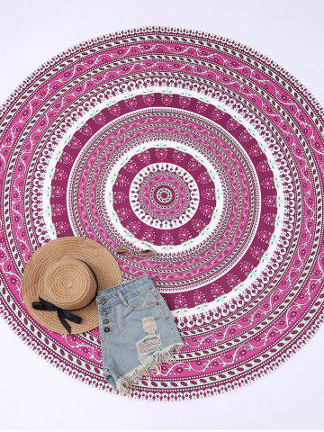 Unique Round Floral Print Beach Cover Throw - ONE SIZE PURPLISH RED Mobile
