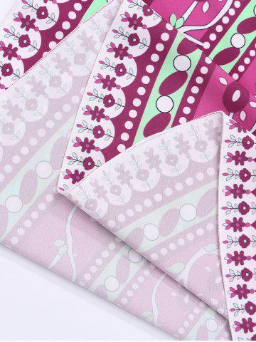 Cheap Round Floral Print Beach Cover Throw - ONE SIZE PURPLISH RED Mobile