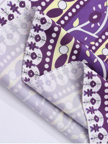 Chic Round Floral Print Beach Cover Throw - ONE SIZE PURPLE Mobile