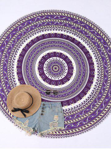 Round Floral Print Beach Cover Throw - Purple - One Size