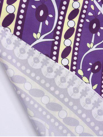 Store Round Floral Print Beach Cover Throw - ONE SIZE PURPLE Mobile