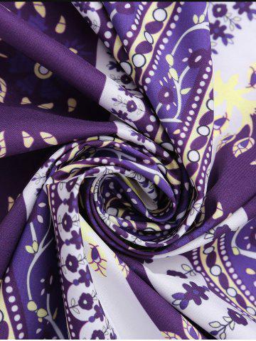 Hot Round Floral Print Beach Cover Throw - ONE SIZE PURPLE Mobile