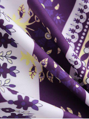 Buy Round Floral Print Beach Cover Throw - ONE SIZE PURPLE Mobile