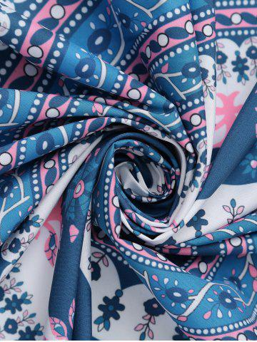 Hot Round Floral Print Beach Cover Throw - ONE SIZE BLUE Mobile