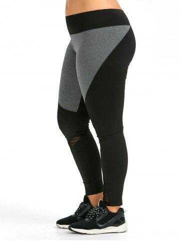 Hot Colorblock Plus Size Workout Leggings - 4XL BLACK Mobile