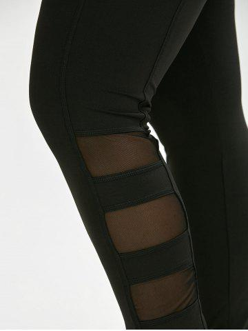 Buy Plus Size Mesh Insert Exercise Leggings - 4XL BLACK Mobile