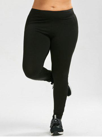 Outfit Plus Size Mesh Insert Exercise Leggings - 4XL BLACK Mobile