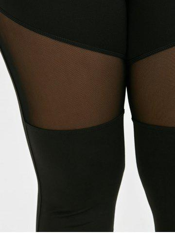 Store Plus Size Ninth Mesh Panel Leggings - 5XL BLACK Mobile