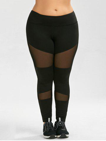 Cheap Plus Size Ninth Mesh Panel Leggings - 5XL BLACK Mobile
