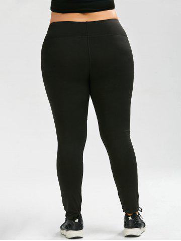 Affordable Plus Size Ninth Mesh Panel Leggings - 5XL BLACK Mobile