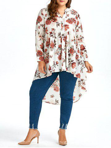 Plus Size High Low Long Chiffon Floral Shirt - White - 2xl